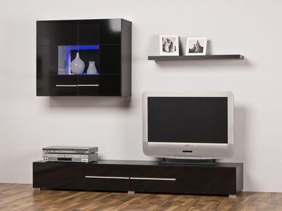 Wohnwand 180 cm weiß o. schwarz Optional m. Beleuchtung