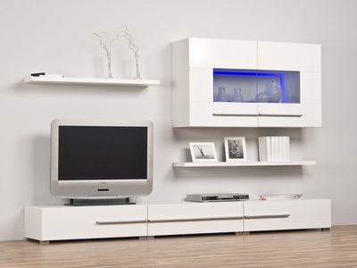 Wohnwand 240 cm weiß o. schwarz Optional m. Beleuchtung