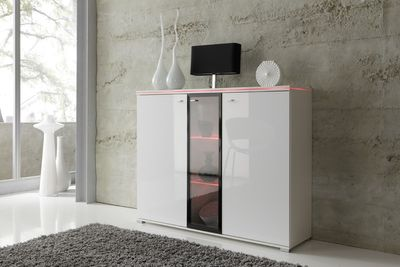 Highboard NEW YORK in Weiß, Fronten Hochglanz optional LED-Beleuchtung – Bild 1