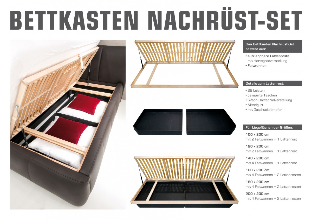 dreams4home bettkasten nachr st set lattenrost inkl bettkasten f r 160 180 o 200x200 cm. Black Bedroom Furniture Sets. Home Design Ideas