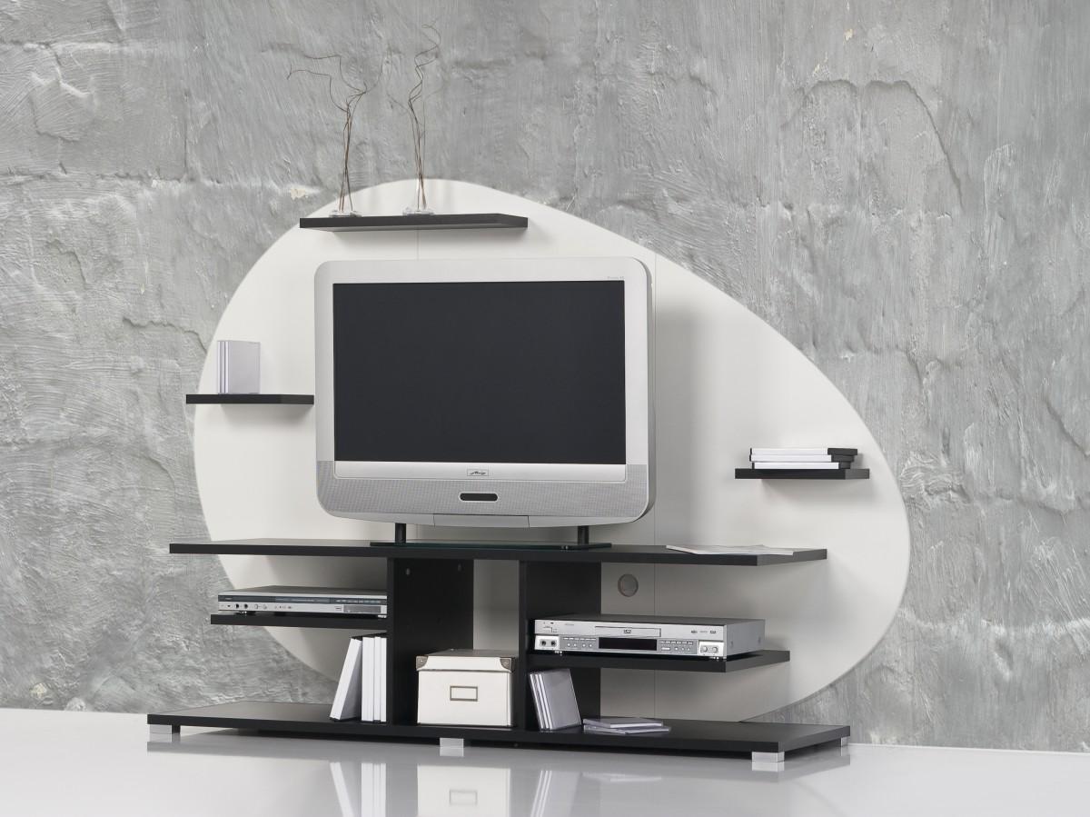 Tv rack mit rückwand  Lowboard / TV Board / TV Center / TV Regal / Fernsehschrank - Weiß ...