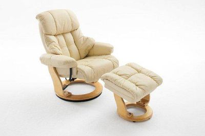 Dreams4home Relaxsessel Fortuna L Mit Hocker Lederin Creme Max