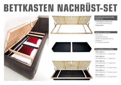 Bettkasten Nachrüst-Set, Lattenrost inkl. Bettkasten, 140x200 cm