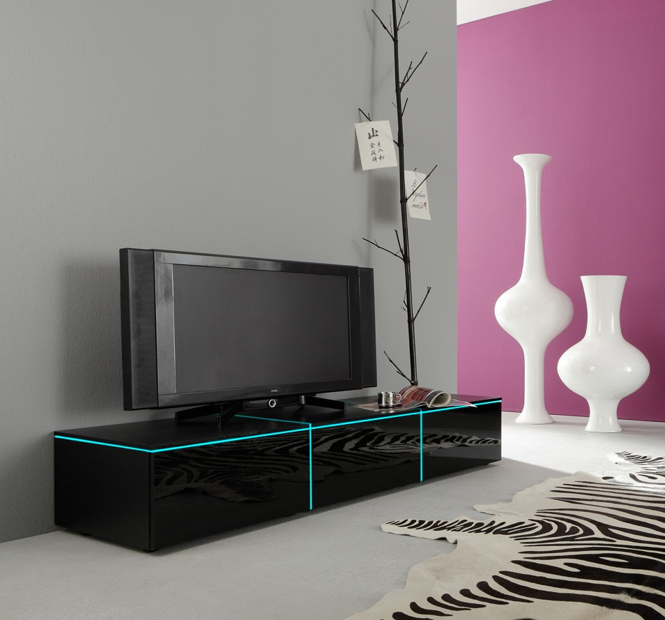 dreams4home lowboard square tv schrank phonom bel wei o schwarz hochglanz opt led rgb. Black Bedroom Furniture Sets. Home Design Ideas