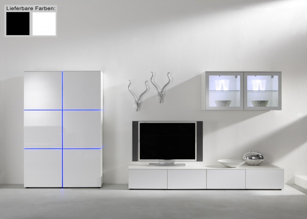 Designer wohnzimmerschrank  Dreams4Home Wohnwand Square Anbauwand Schrankwand weiß o schwarz ...