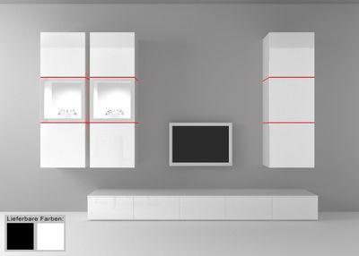 "Wohnwand ""Square"" weiß o. schwarz hochglanz, optional LED-RGB-Beleuchtung – Bild 1"