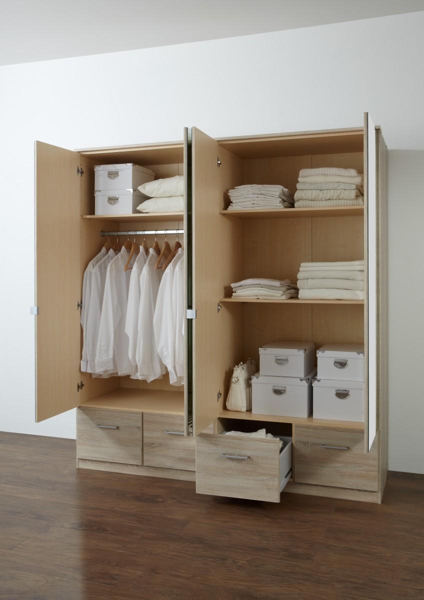 dreams4home kleiderschrank kian ii mit spiegelt ren in eiche s gerau. Black Bedroom Furniture Sets. Home Design Ideas