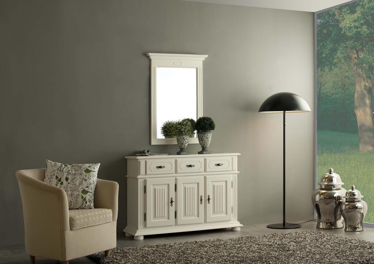 dreams4home sideboard gordes kommode anrichte wahlweise mit spiegel massivholz fichte alt wei. Black Bedroom Furniture Sets. Home Design Ideas