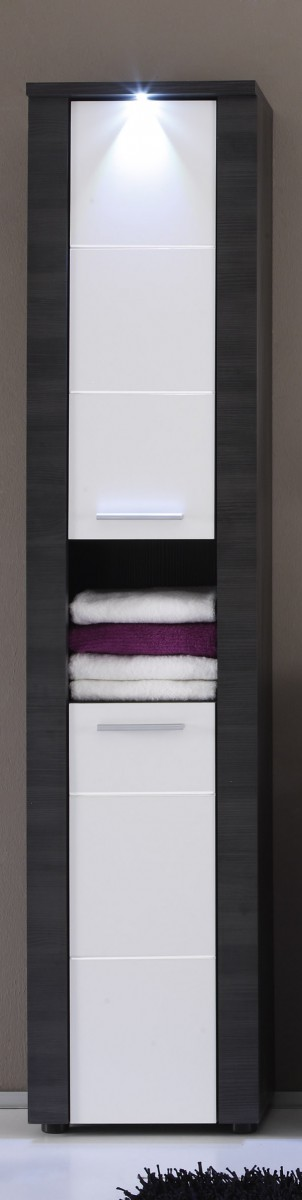 dreams4home hochschrank nizza badezimmer badm bel badezimmerm bel esche grau wei. Black Bedroom Furniture Sets. Home Design Ideas