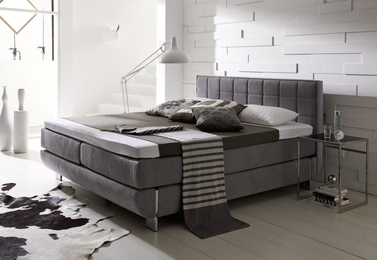 dreams4home boxspringbett south hampton kt2 grau. Black Bedroom Furniture Sets. Home Design Ideas