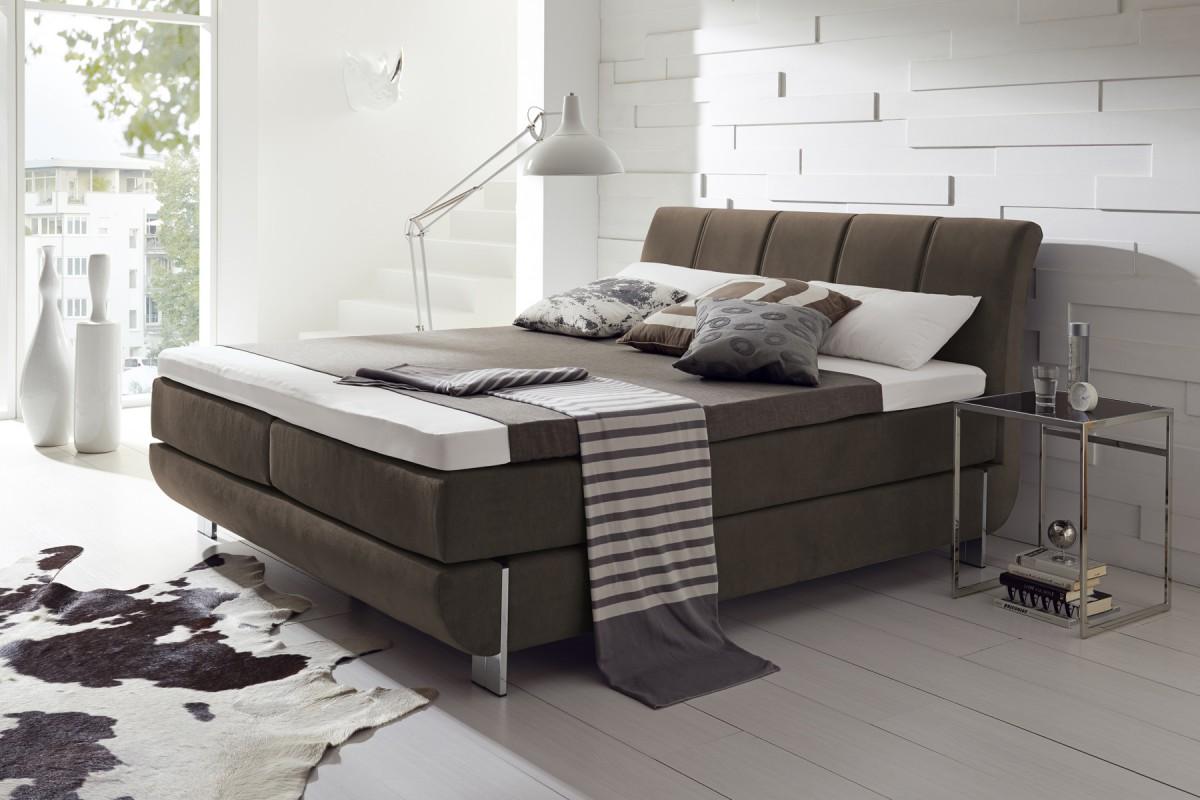 dreams4home boxspringbett south hampton kt1 braun 100x200cm 140x200cm 160x200cm 180x200cm. Black Bedroom Furniture Sets. Home Design Ideas