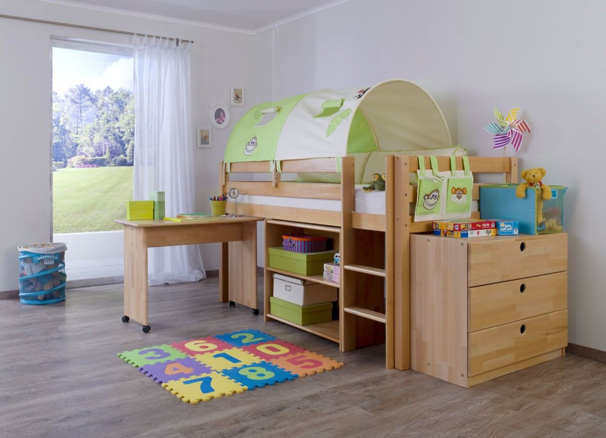 dreams4home kinderbett hochbett spielbett bett trino. Black Bedroom Furniture Sets. Home Design Ideas