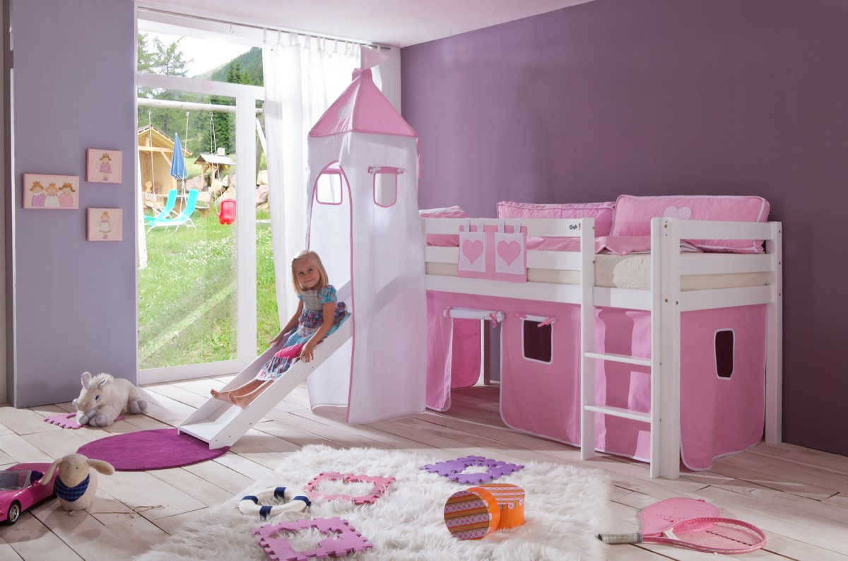 dreams4home kinderbett hochbett spielbett bett sari rosa. Black Bedroom Furniture Sets. Home Design Ideas