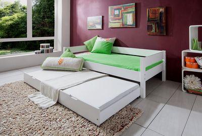 "Einzelbett ""Lyyli II"" 90x200 cm Buche massiv, weiß lackiert – Bild 2"