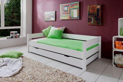 "Einzelbett ""Lyyli II"" 90x200 cm Buche massiv, weiß lackiert – Bild 3"