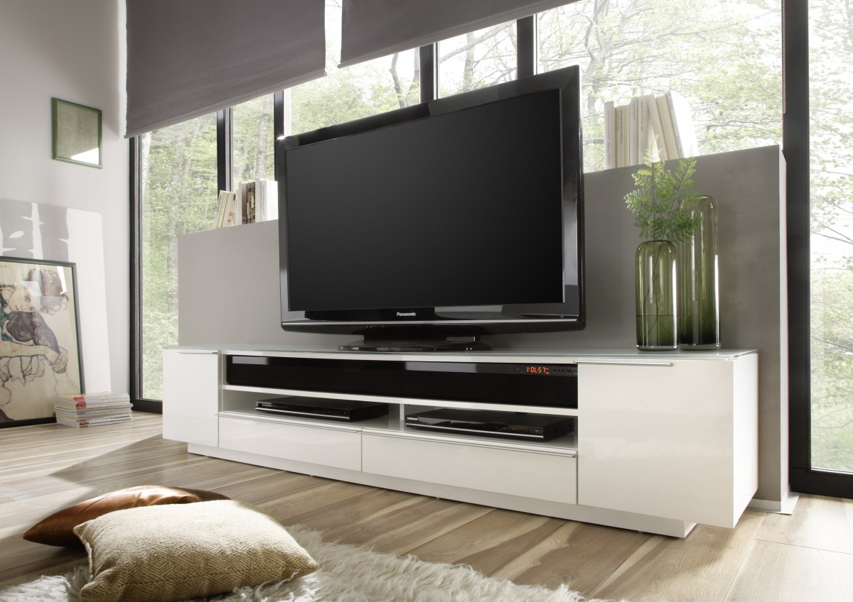 dreams4home tv media element modena hochglanz wei lowboard tv schrank media lowboard. Black Bedroom Furniture Sets. Home Design Ideas