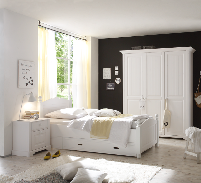 dreams4home jugendzimmer set dreamy 3trg kleiderschrank bett 120 x 200 cm nachtkonsole. Black Bedroom Furniture Sets. Home Design Ideas