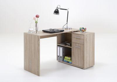 """Schreibtisch """"Roxi"""" - in Sandeiche, Eiche, Beton/Weiß, Artisan Eiche/Weiß, Old Style dunkel/Stahl dunkel und Weiß – Bild 5"""