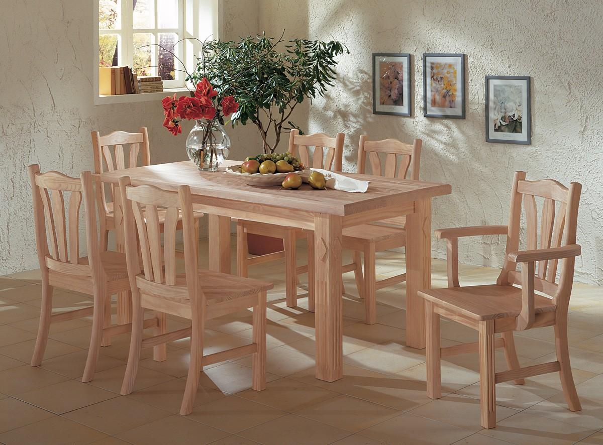 Toskana Tischgruppe Pinie Massiv Esstisch 158 X 80 Cm 6 Stuhle