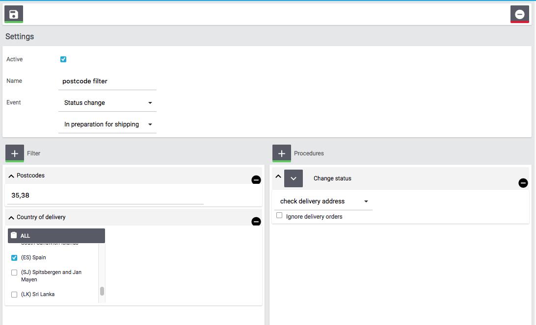 Postcode filter filter and procedures