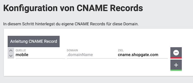 CNAME Konfiguration