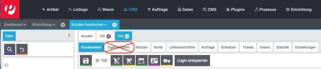 Das Menü CRM » Kunden bearbeiten (deprecated).