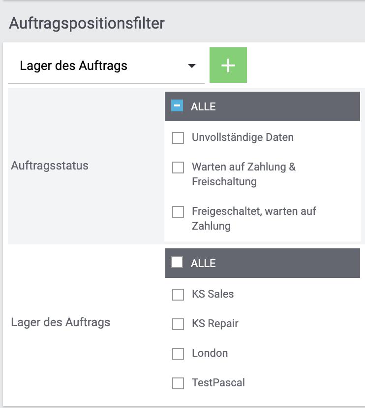 Lager-Filter am Typ Auftragsposition.