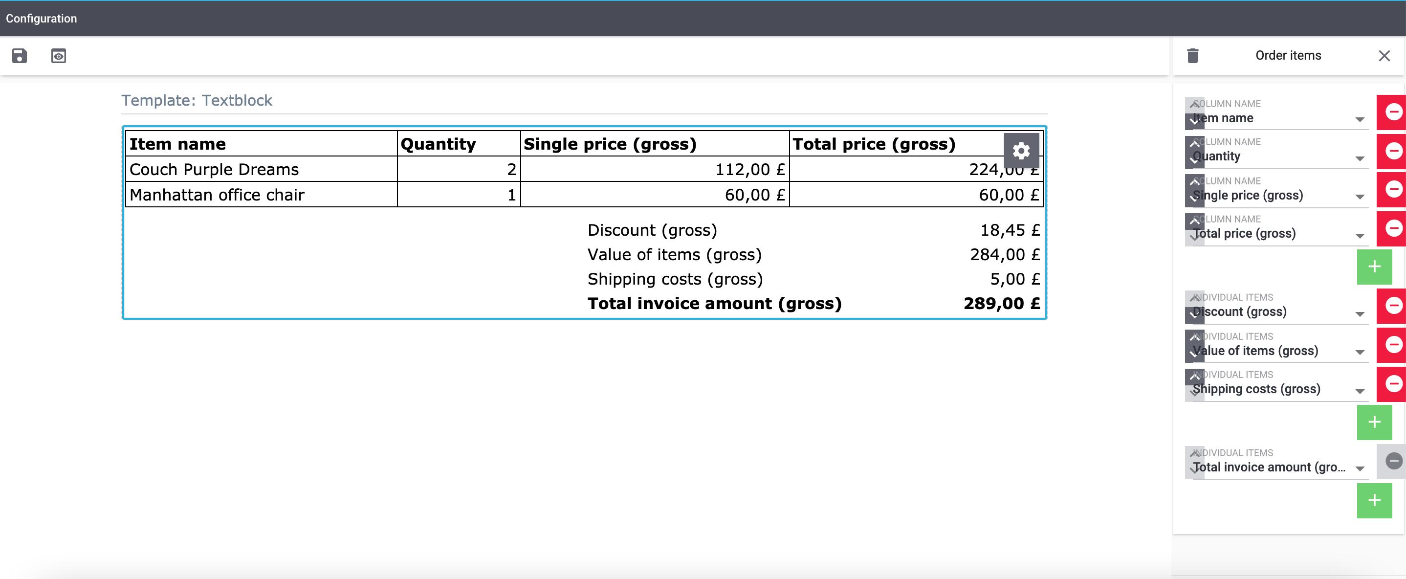 emailbuilder editing mode order items