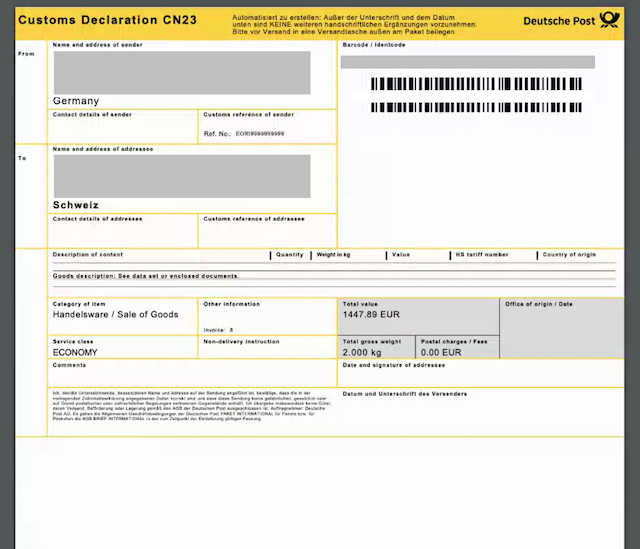 dhl cn23 formular