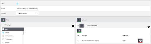 eBay Fulfillment Einstellungen Aktion E Mail versenden