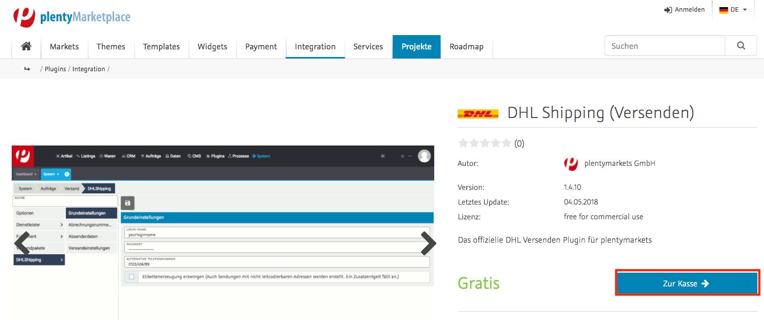 praxisbeispiel dhl shipping plugin kaufen