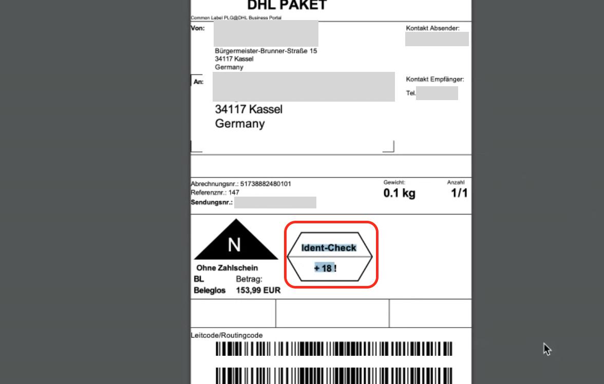 DHL label ident check