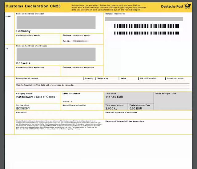 dhl shipping cn23 form
