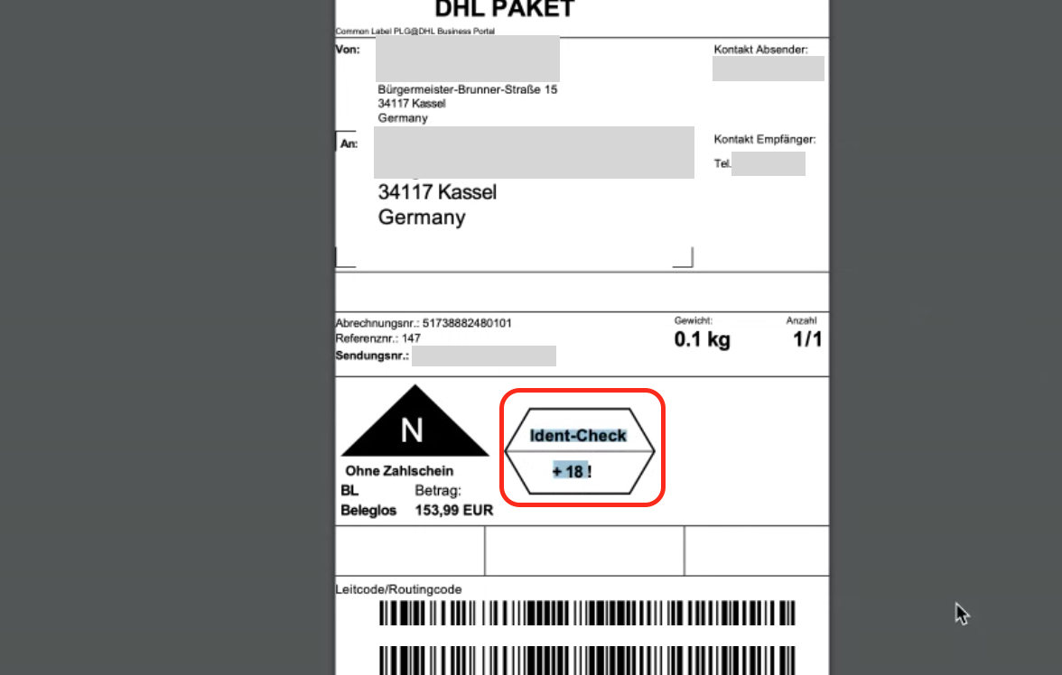 dhl shipping label ident check