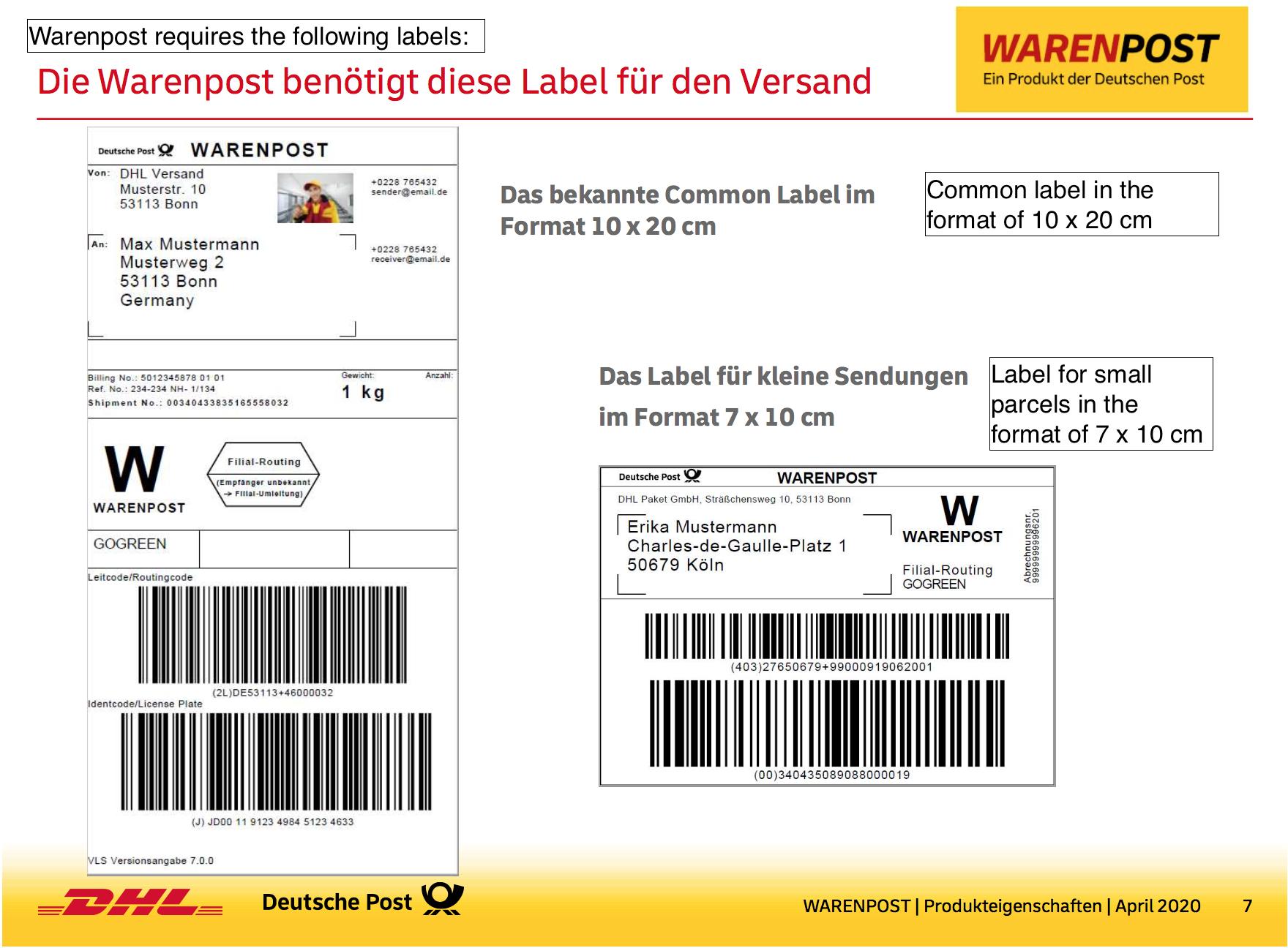 dhl warenpost label size german