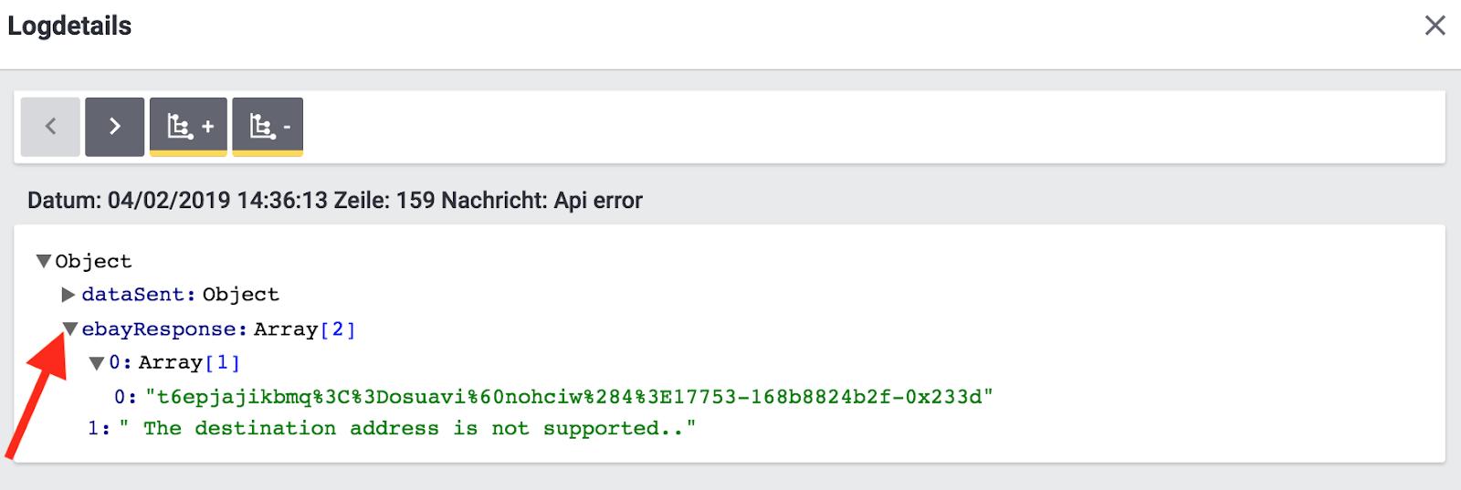 eBay Fulfillment log entry