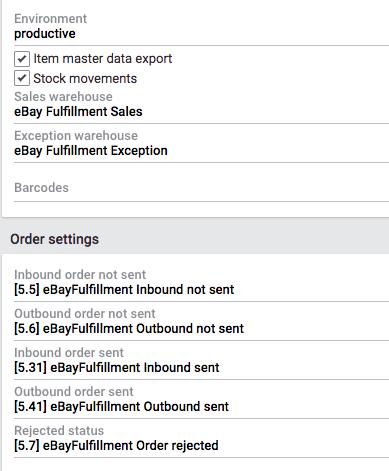eBay Fulfillment plugin settings