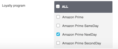 Prime loyalty program filter