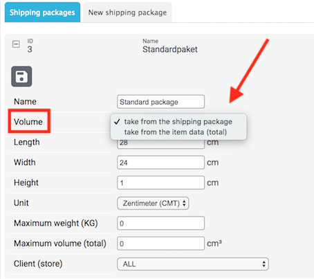 Settings shipping packages