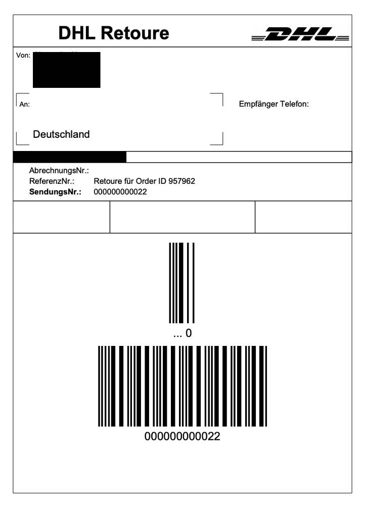 DHL return label