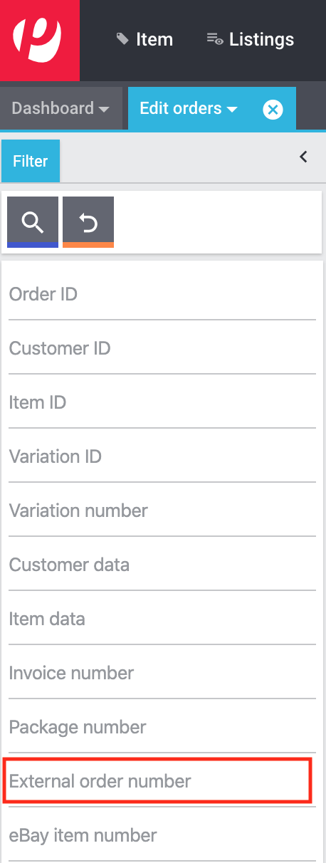 Search external order number