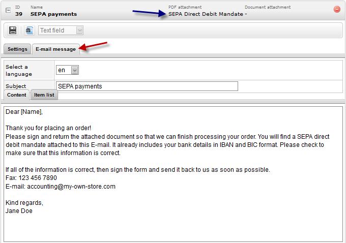 EN Bank details SEPA Template