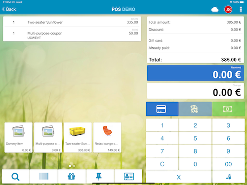 tablet view POS shopping cart