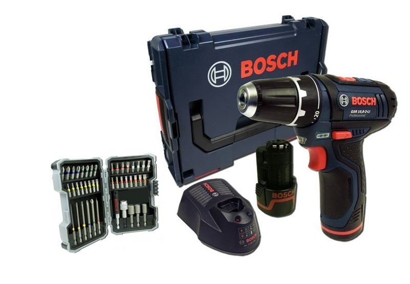 bosch gsr 10 8 2 li akkuschrauber l boxx schrauberbit set 43 teilig ebay. Black Bedroom Furniture Sets. Home Design Ideas