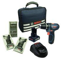 Bosch GSR 10,8-2-LI Akkuschrauber 1 x 2,0 Ah + 1 x 4,0 Ah 39-tlg. Zubehör Set und Tasche