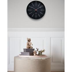 ARNE JACOBSEN WATCH Wanduhr BANKERS CLOCK BLACK 210 43636, D. 21 cm
