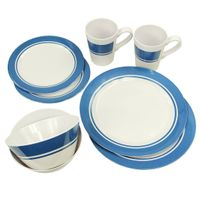 Fridani MDD Dinnerware - 8 piece melamine crockery, 2 cups, 4 plates in 2 sizes, 2 bowls