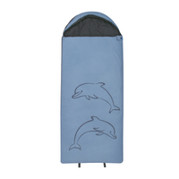 10T Dolphin - XL Children´s rectangular sleeping bag, 180x75cm, motif dolphin, warm 300g/m² filling