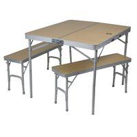 10T Portable Bench - Mobiles Tisch-Bank-Set 4 Personen Aluminium Koffermaß 90x42x10cm