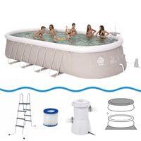 Jilong Chinook Grey 610 Set - Stahlrahmen Quick-up Pool 610x360x122cm, mit Filterpumpe, Leiter, Boden- und Abdeckplane